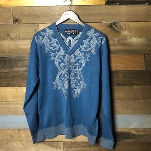Vintage Blue Royal Prestige V Neck Sweater Sz XL